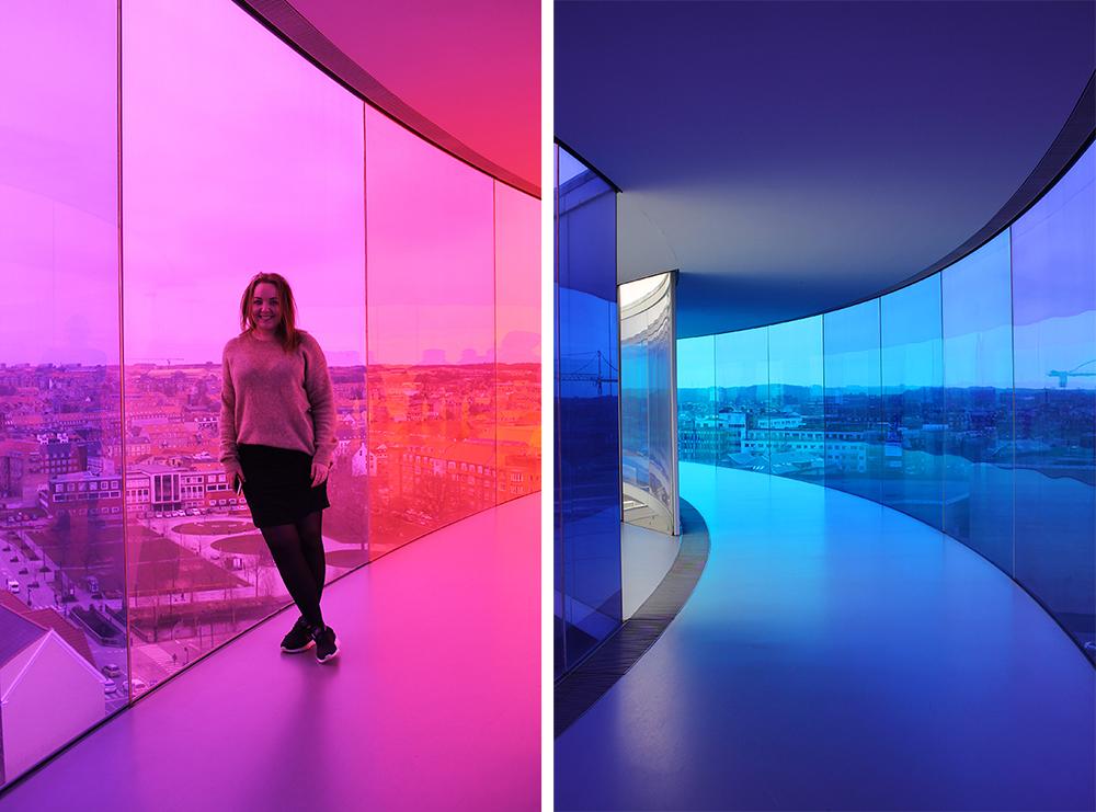 TENK KOFFERT I AARHUS: Her er jeg i Your Rainbow Panorama, 100 meter over bakken. Foto: Tenk Koffert