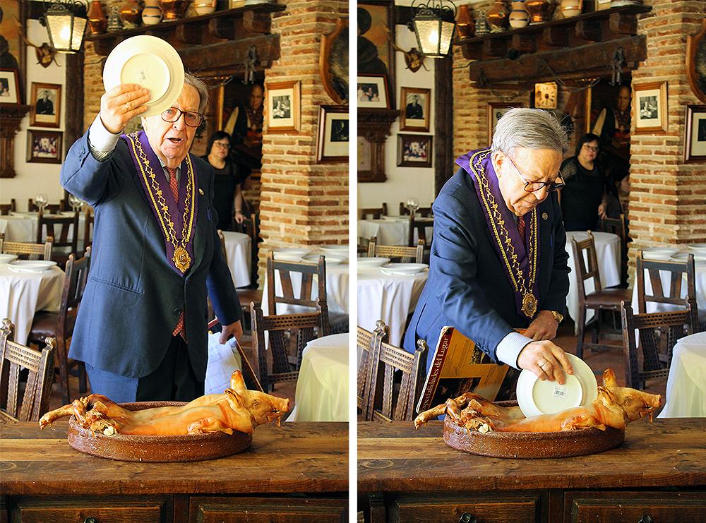 MESON DE CÁNDIDO: Innehaver Alberto Cándido tar en vanlig tallerken, deler kjapt opp grisen og slenger så tallerkenen rett i steingulvet så den går i tusen knas. Sånn skal det gjøres! Foto: Tenk Koffert