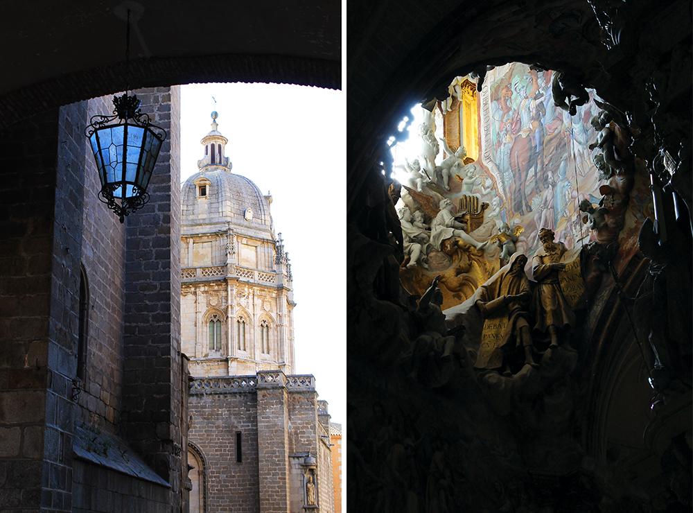 """KATEDRALEN I TOLEDO: Fantastisk fin fasade, og inne i katedralen er det vakre utsmykninger hvor enn du ser. På bildet til høyre ser du en liten detalje fra taket. Alle statuene er """"life sized"""". Foto: Tenk Koffert"""