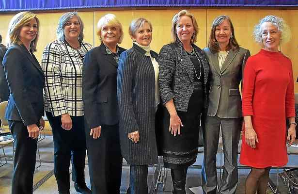 "From left, Chester County Commissioners Michele Kichline and Kathi Cozzone, with Sheriff Carolyn ""Bunny"" Welsh join the newly elected row officers: Treasurer Patricia Maisano, Controller Margaret Reif, Clerk of Courts Yolanda Van de Krol and Coroner Dr. Christina VanePol, following their swearing-in ceremonies held at West Chester University Sykes ballroom Wednesday. PETE BANNAN – DIGITAL FIRST MEDIA"