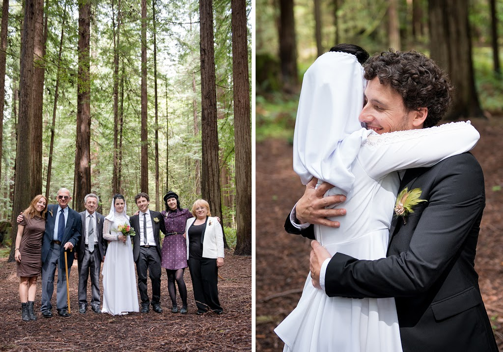 redwoods wedding photography, bride and groom hugging and posing with family, avenue of the giants wedding photography