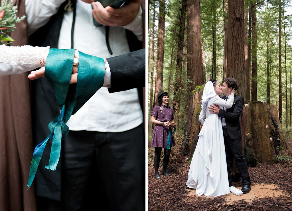 redwoods wedding first kiss and ceremony at the avenue of the giants, California wedding
