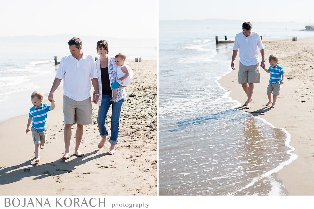 boy, girl and parents walking on crissy field beach in san francisco, best photography