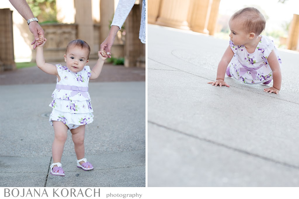 baby girl walking and playing at the palace of fine arts in san francisco, photography