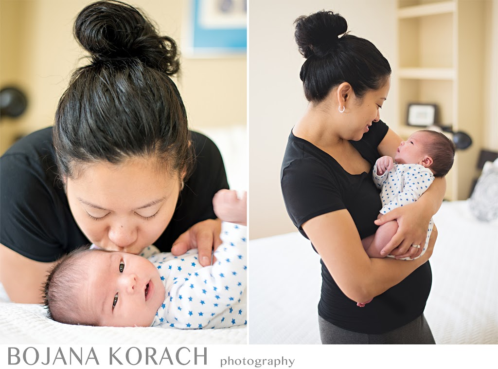 mother kissing and holding her newborn baby boy in san francisco, photography