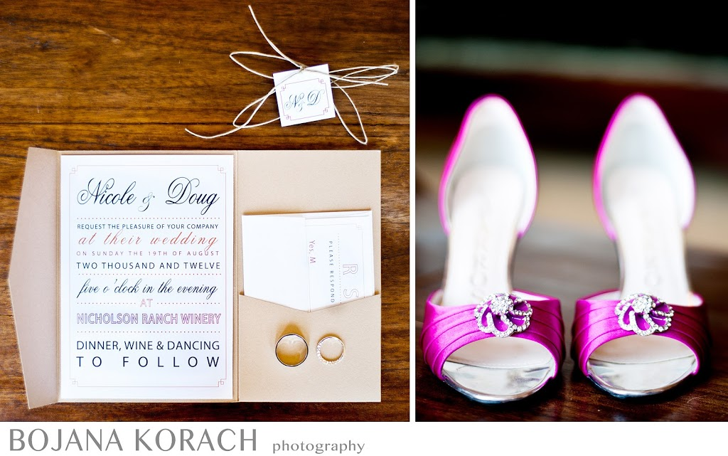 wedding invitation and pink wedding shoes, details from a wedding at the nicholson ranch winery in sonoma