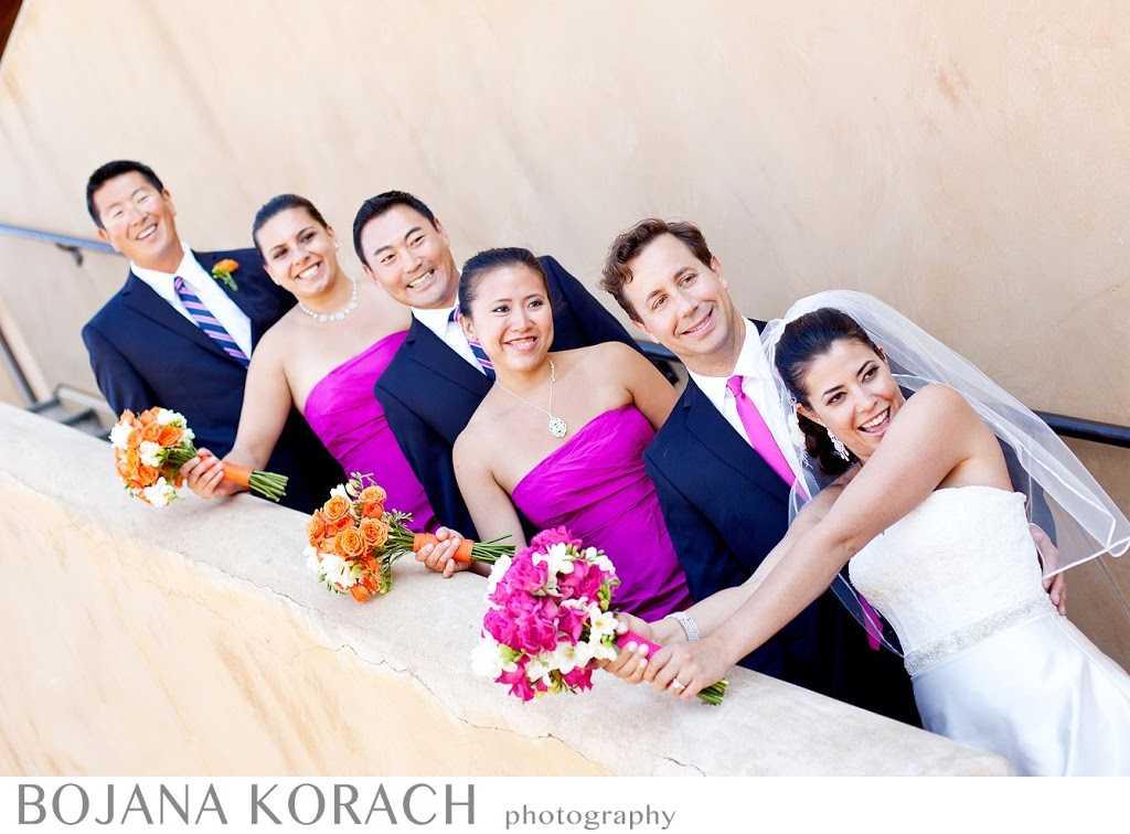 bridal party having fun at nicholson ranch winery in sonoma, wedding photography