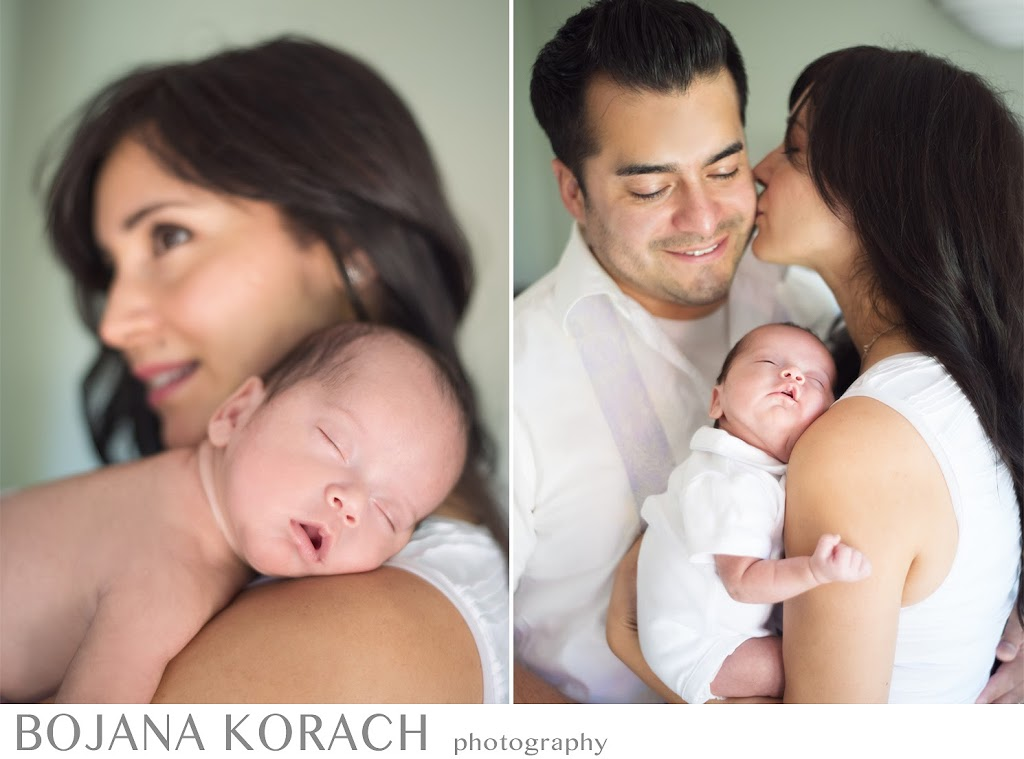 Newborn baby boy asleep on his mother's shoulder and with both of his parents taken by San Francisco newborn photographer in Redwood City
