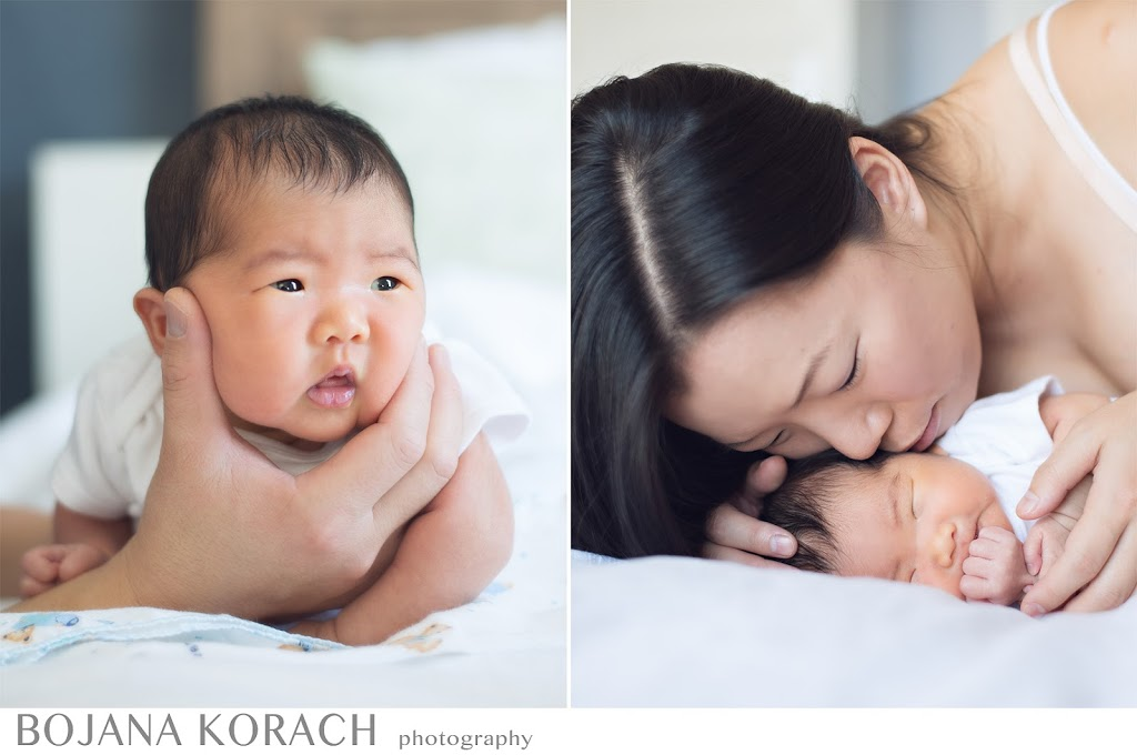newborn baby girl being kissed by her mother and burped by her father in alameda, san francisco bay area newborn photographer