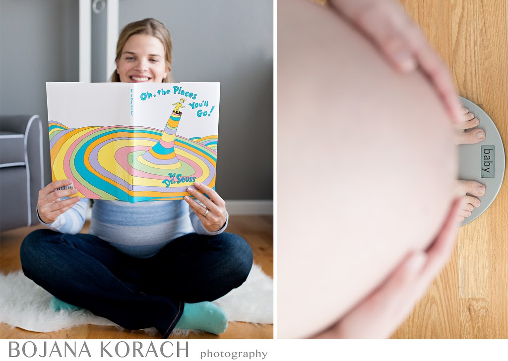 oh the places you'll go book and pregnant baby bump with a weight scale which says baby on it during the maternity session in the san francisco bay area