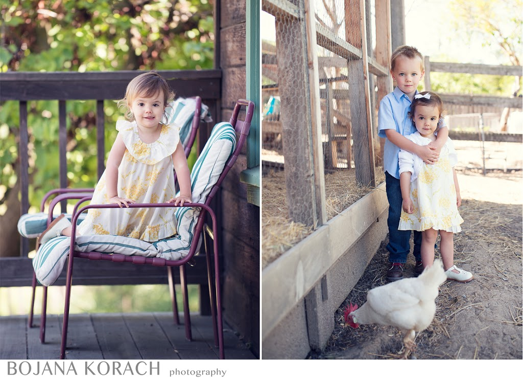 San Francisco bay area photographer captures brother and sister hugging with a white chicken in the foreground