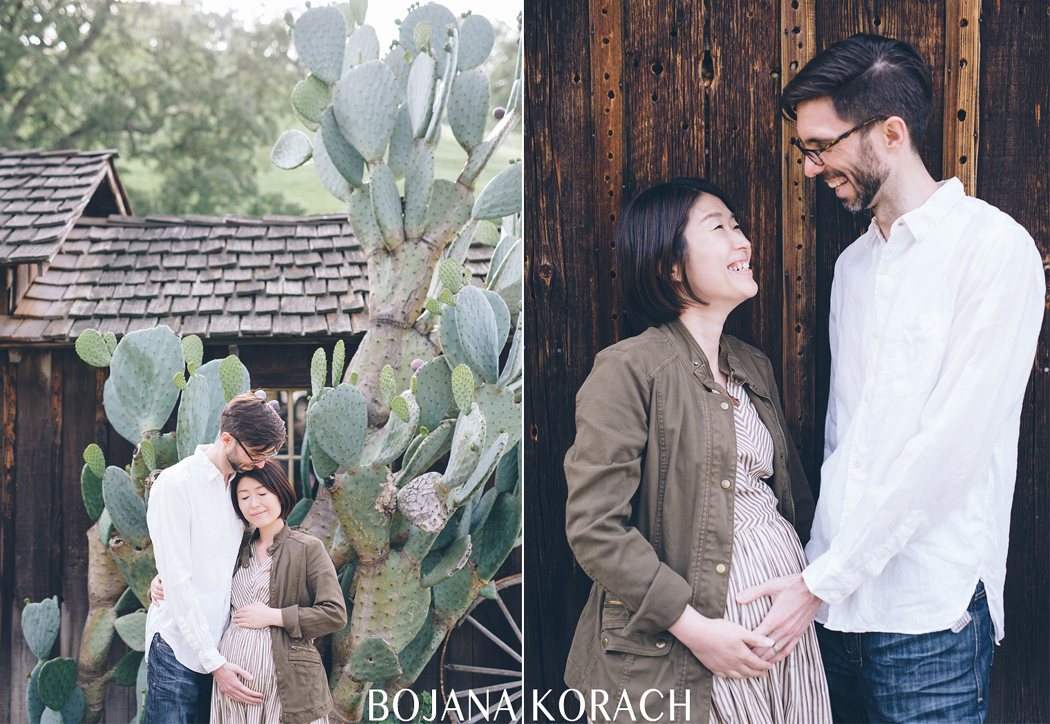 marnity session with a couple standing near a barn and cactus