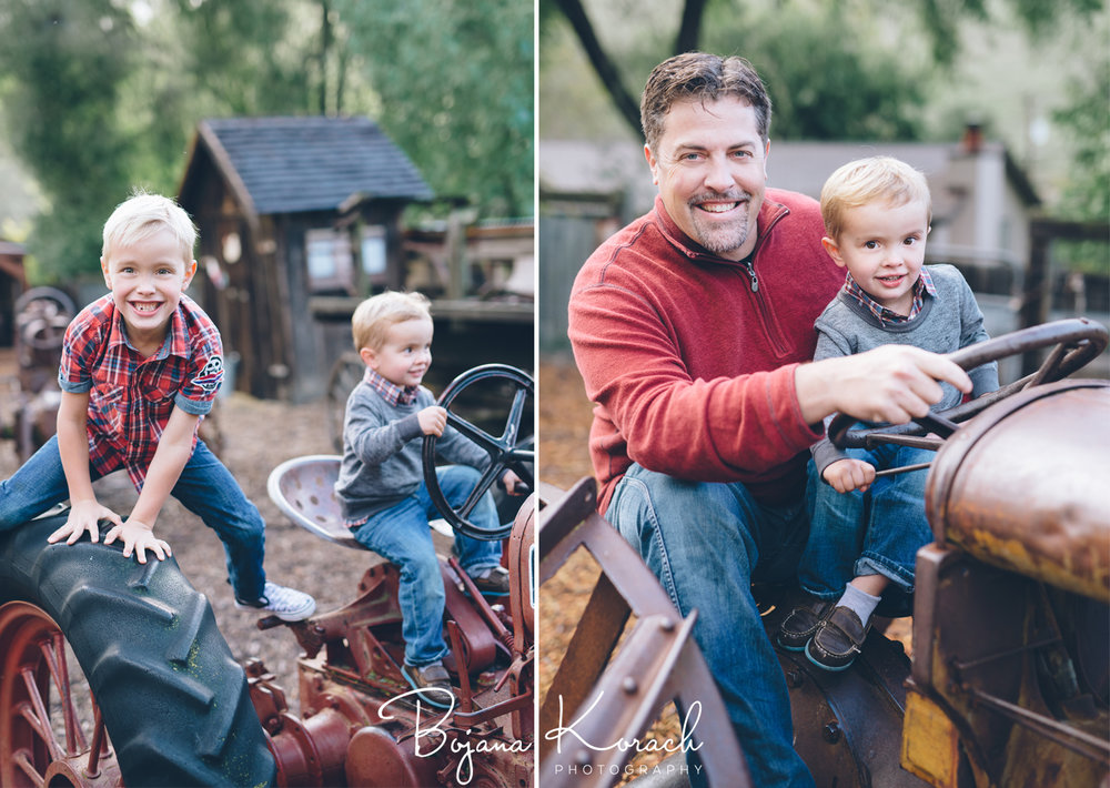 family photos with a tractor for holidays