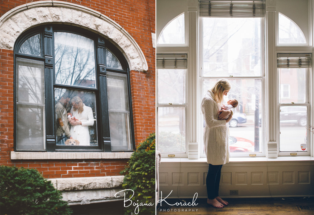 window shots of family with newborn in chicago