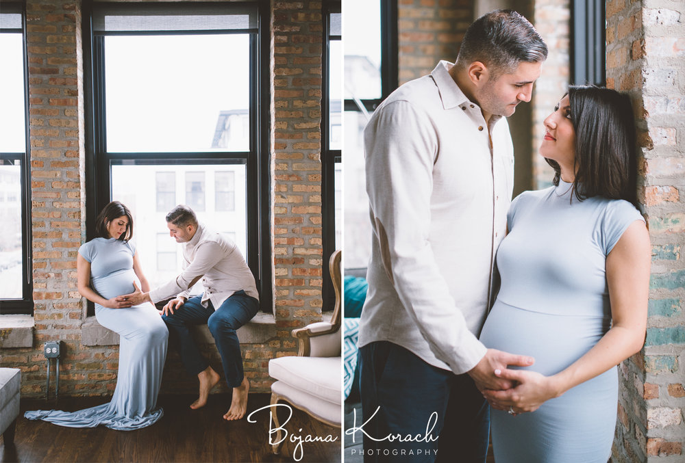 maternity session in a loft