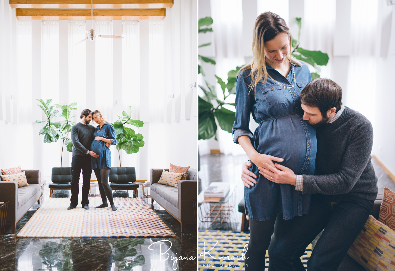 frank lloyd wright inspired house maternity photography