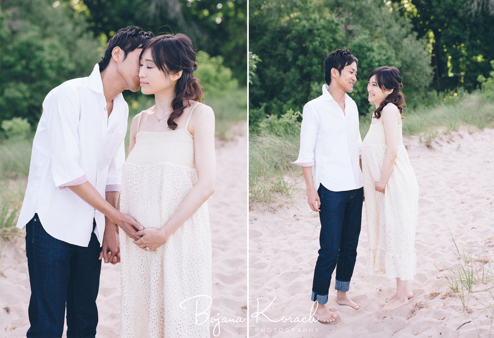 japanese couple maternity session at the beach