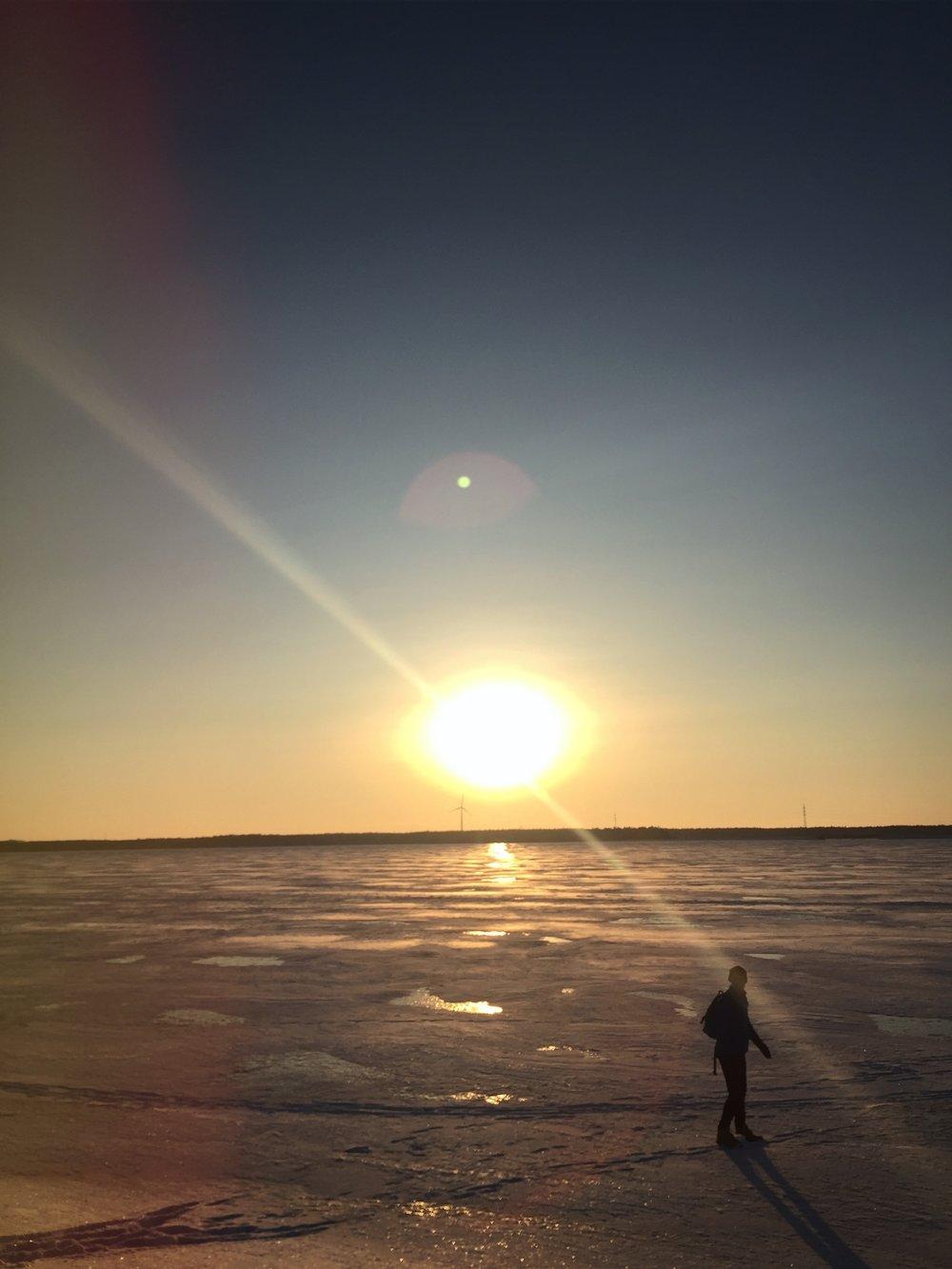 Bild från vintern 2017/18 då isen var tjock tjock.  Va int orolig mamm!