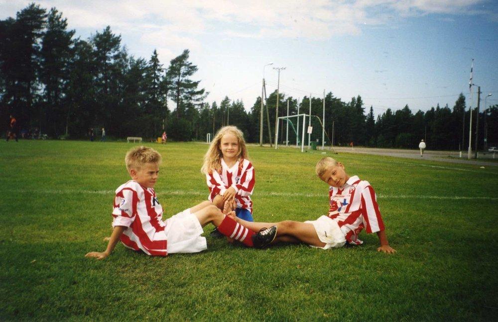 Min bror Max, jag och min kusin Lukas.