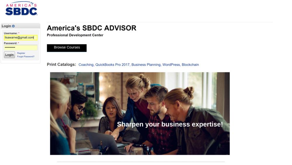 """America's Small Business Development Centers"" private platform"