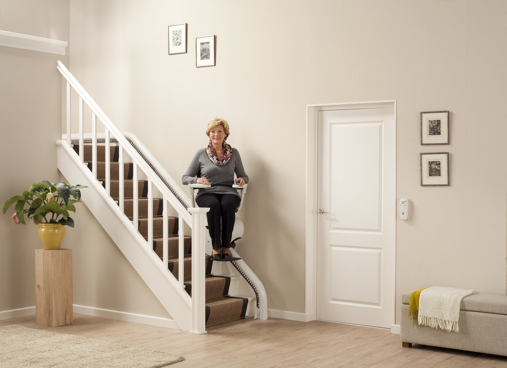 Flow 2 Curved Stairlift for Narrow Stairs