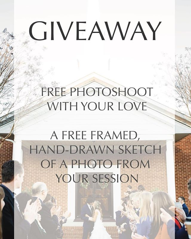 GIVEAWAY!!! I have partnered with @kaileyarnoldart to give you guys the chance to win a FREE photoshoot with your love AND a framed sketch of a photo from your photoshoot!  To enter: 1.) Like this picture 🖤 2.) Follow me AND @kaileyarnoldart  3.) Tag 3 of your friends in the comments below 👇🏻 For EXTRA entries: 1.) Screenshot this photo and post it to your story, be sure to tag both Kailey and I! 2.) Like both of our Facebook pages, Alicia Caitlyn Photography and Kailey Arnold Art.  The competition will close this Thursday and the winner will be announced on Friday! #aliciacaitlynphotography