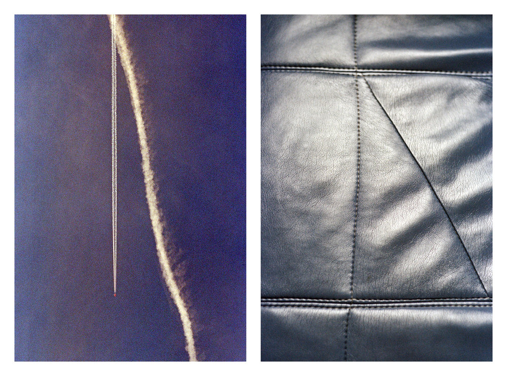 These diptychs juxtapose two perspectives of the same thing; the view of aircraft and their contrails from the ground, paired against details from inside.      #1