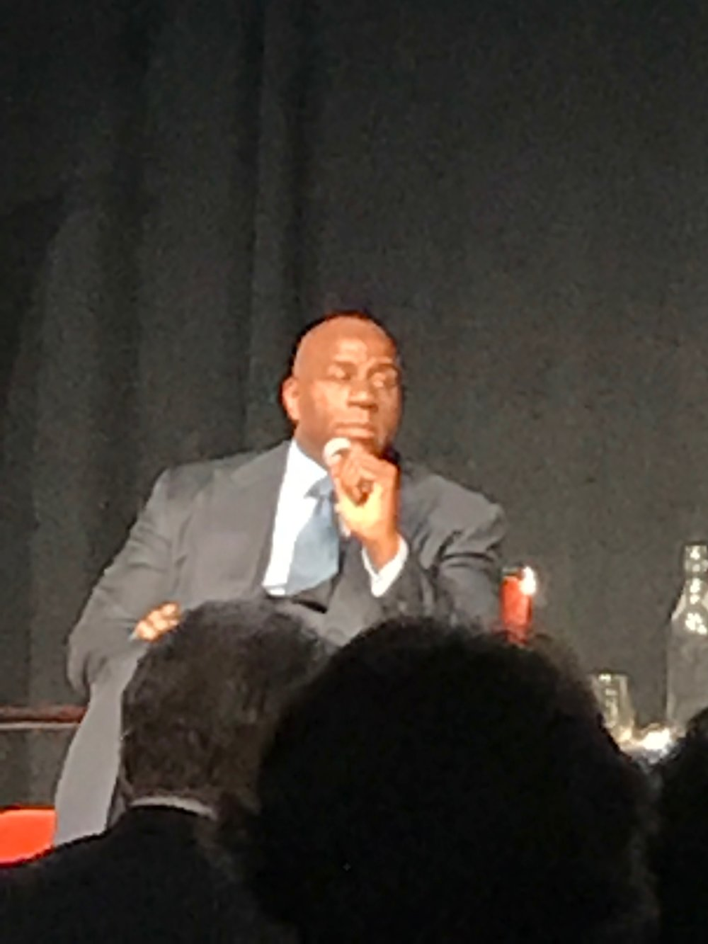 At the NBA Cares event in Los Angeles, Magic Johnson was a surprise guest speaker and quite dynamic. This event was hosted by Kaiser Permanente and NBA Cares.