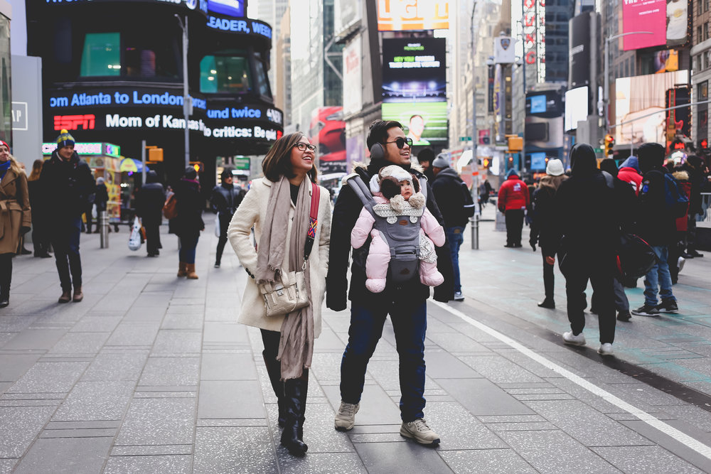 SIghtseeing with baby in Times Square, New York City.