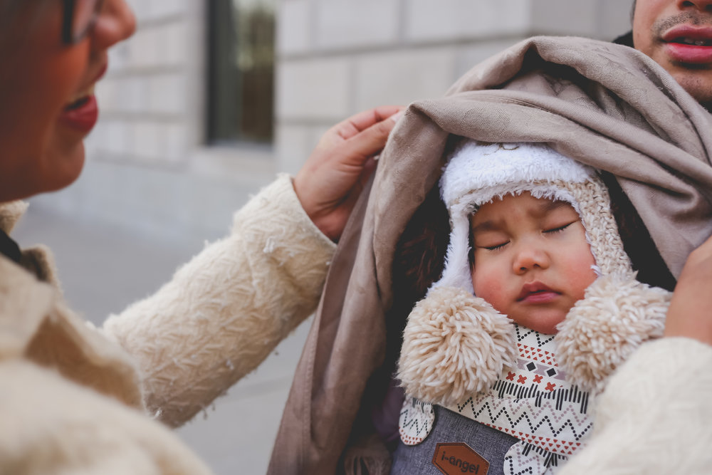 Sleeping baby in winter in New York City.