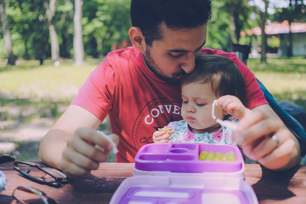 Father and daughter picnic in the park. Photo by Jen Grima, Lehigh Valley, PA family photographer.