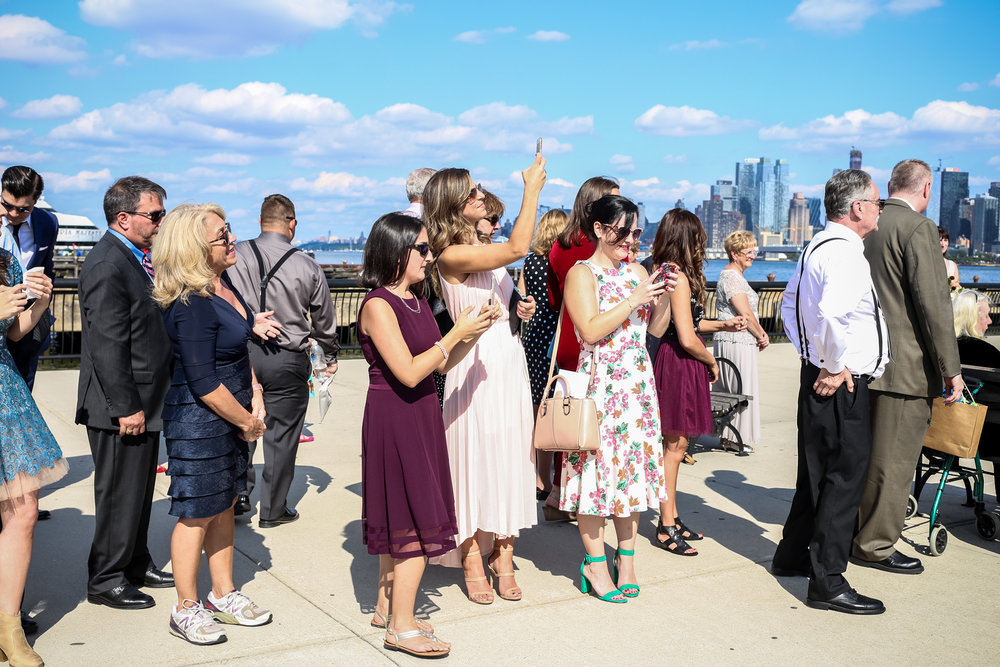 Modern day wedding guests, photo by Jen Grima, Lehigh Valley wedding photographer.