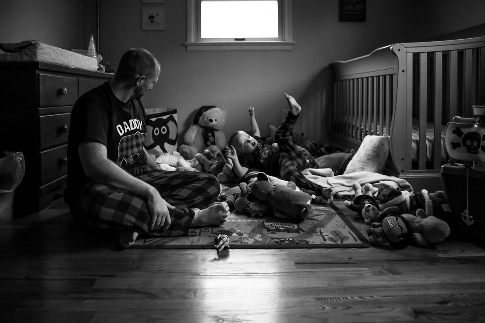 Father and toddler son during an at home photo session in Emmaus, PA.