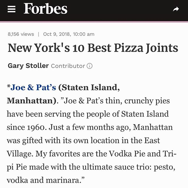 Listed on Forbes as one of New York's 10 Best Pizza Joints! Go check it out!!! #pizza #joeandpats