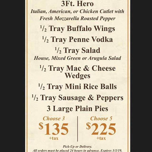 Super Bowl catering special!!!!! For pick up OR delivery, expires 3/1/19🏈🍕 #superbowl #joeandpats #NYC #pizza #catering
