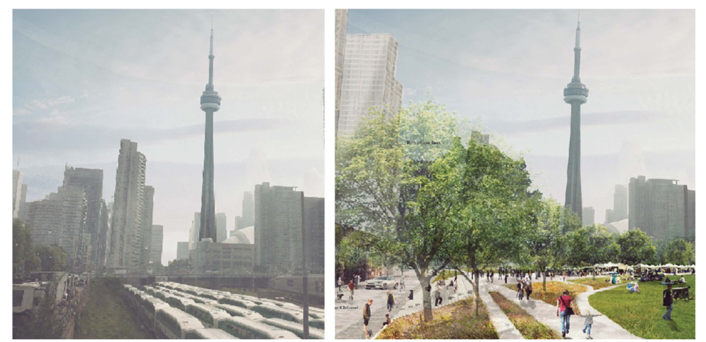 A before and after shot of Rail Deck Park (courtesy of PUBLIC WORK)