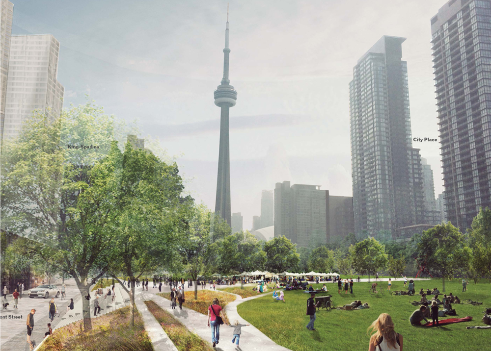 A vision of Rail Deck Park (courtesy of PUBLIC WORK)