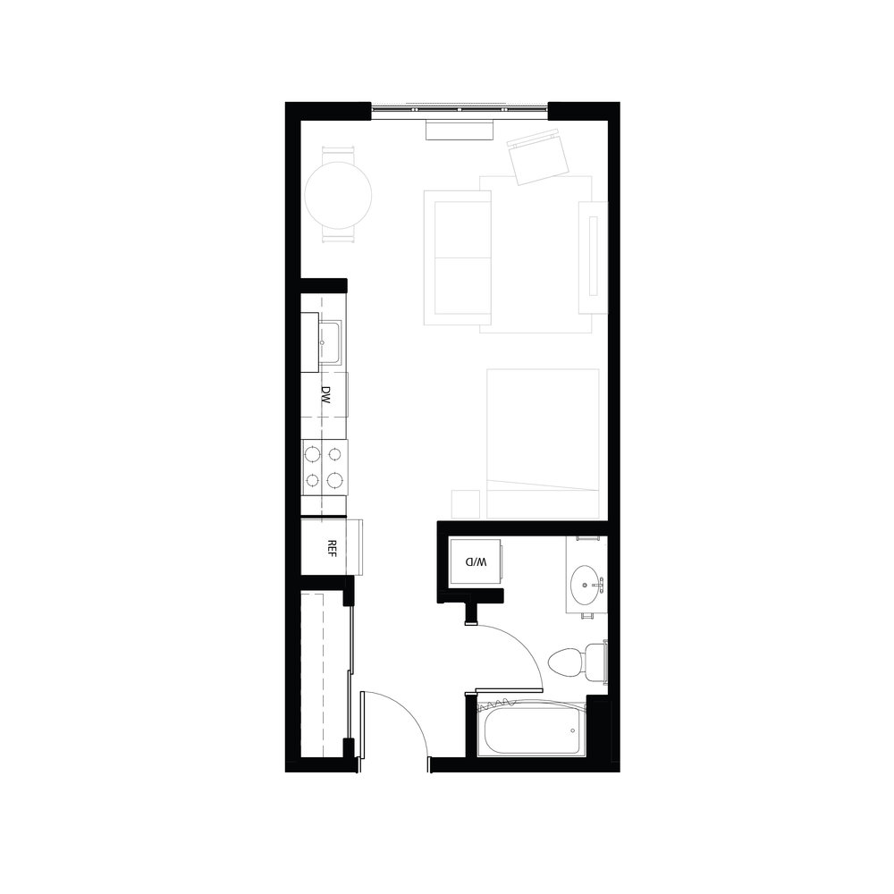 Studio 434 sq ft