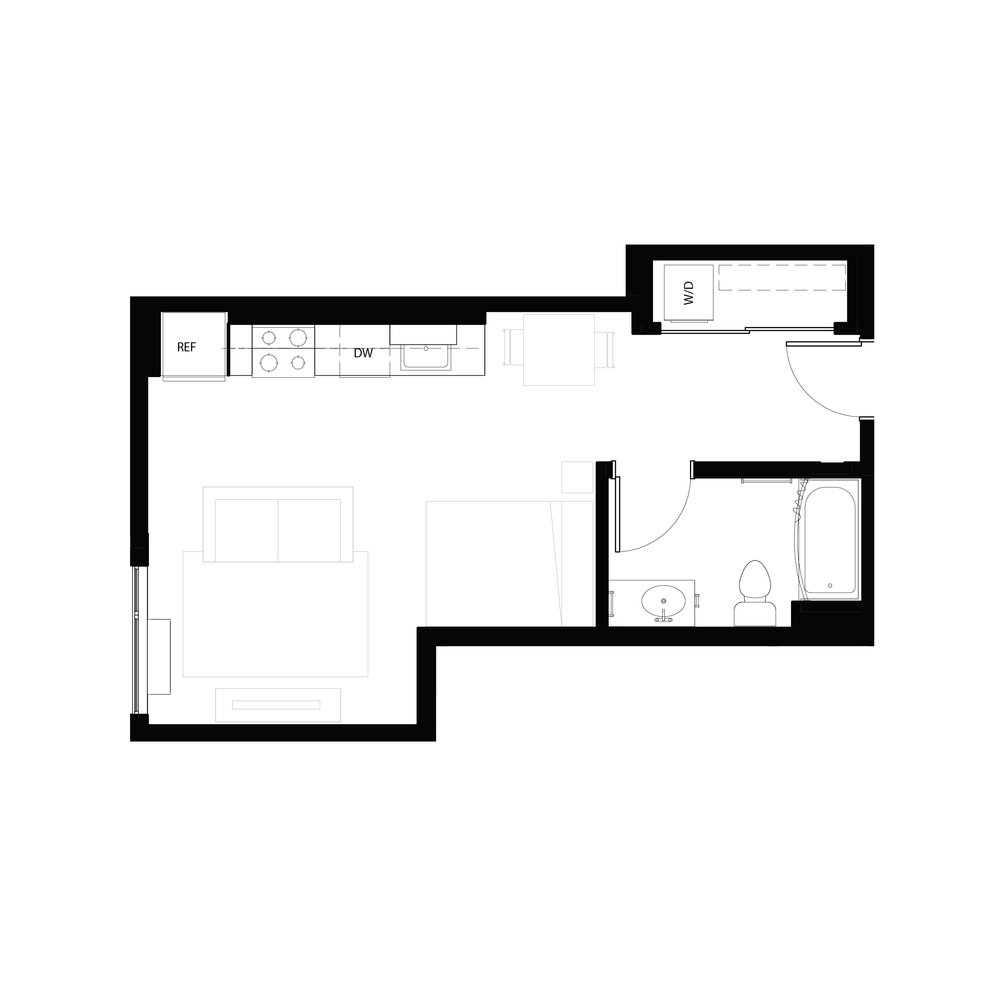Studio 461 sq ft
