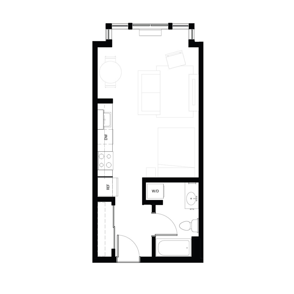 Studio 462 sq ft