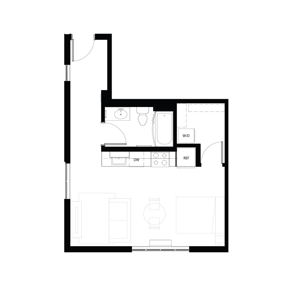 Studio 522 sq ft