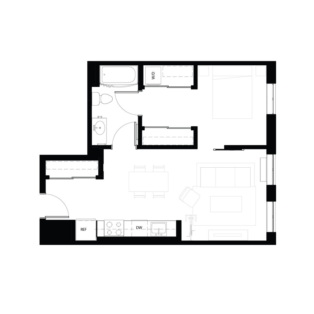 One bedroom 603 sq ft