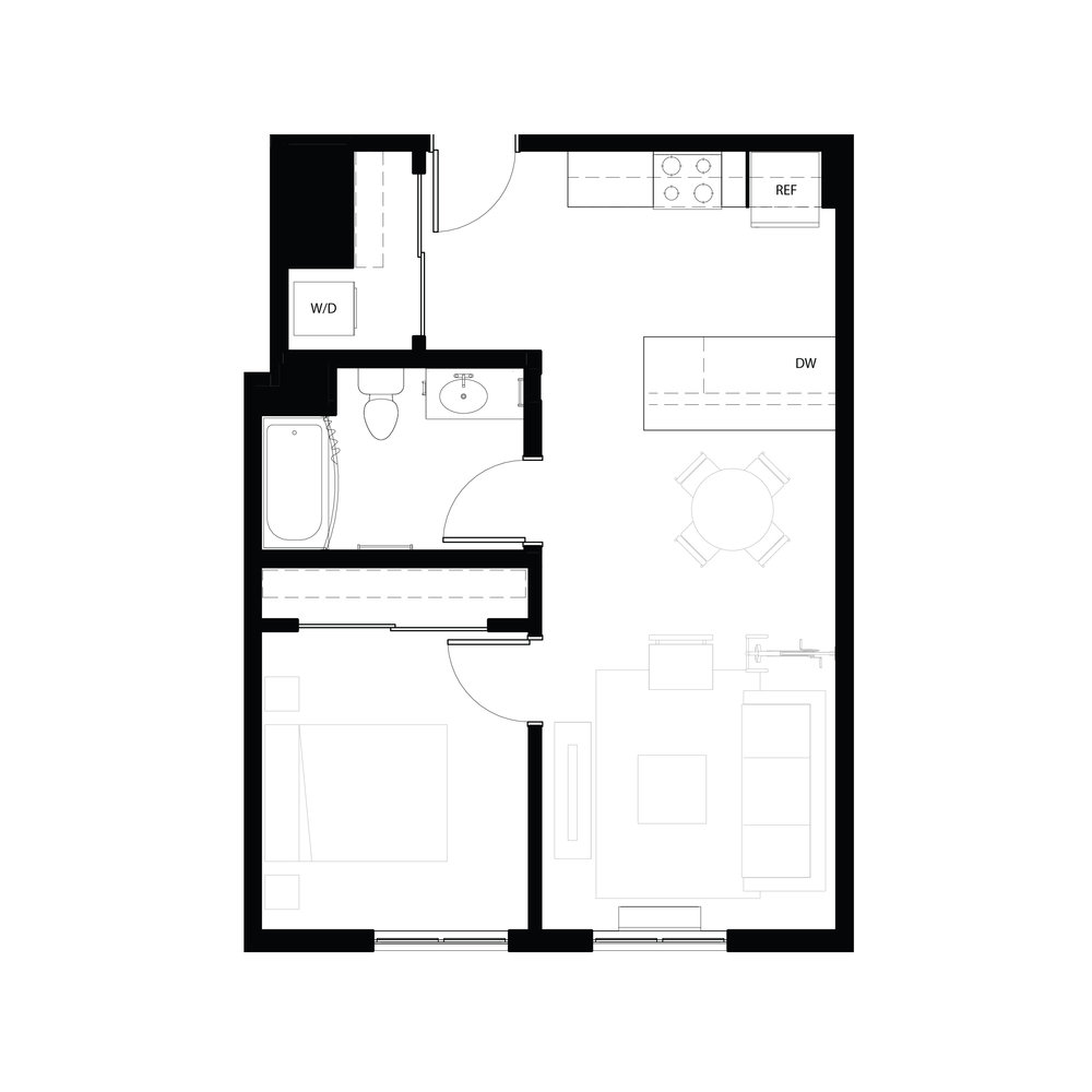 One bedroom 631 sq ft