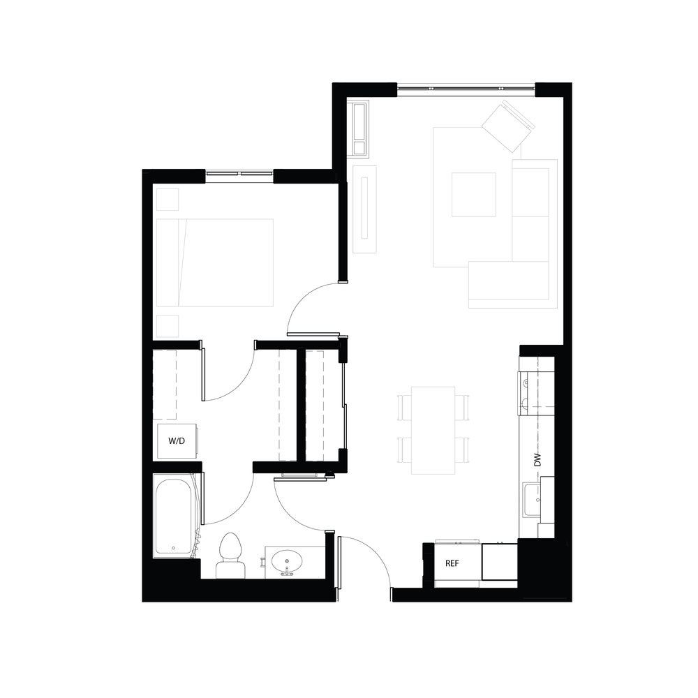 One bedroom 658 sq ft