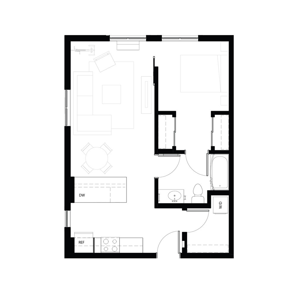 One bedroom 670 sq ft