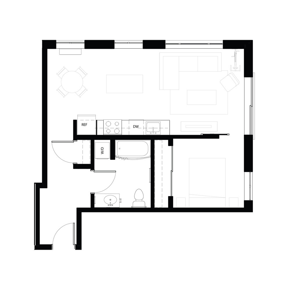 One bedroom 675 sq ft
