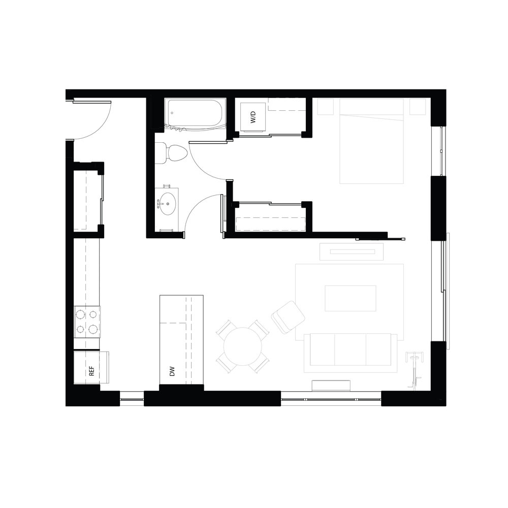 One bedroom 705 sq ft