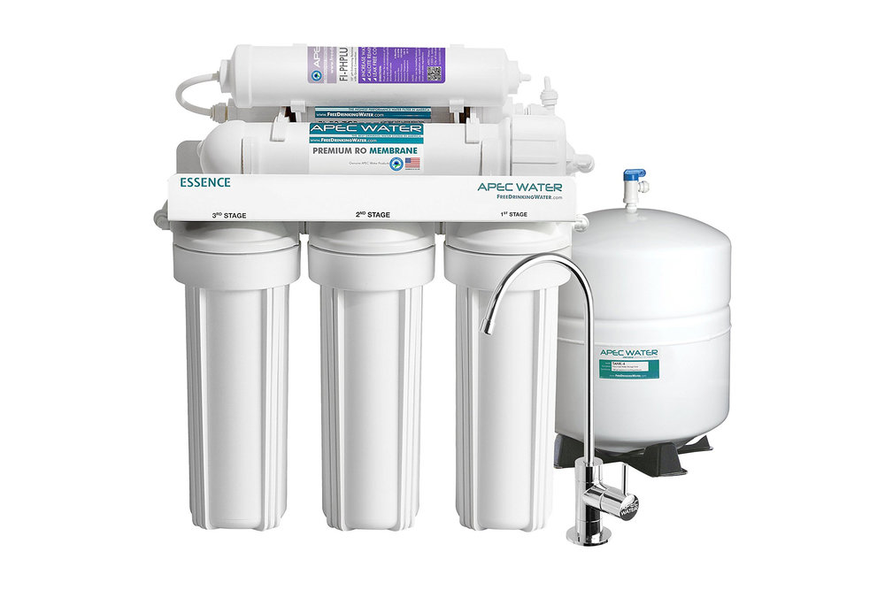 Best under-sink reverse osmosis with remineralizing filter - APEC ROES-PH75 - $212.86> 6-stage system removes up to 99% of bacteria, viruses, cysts, organics, chemicals & more> Easy to install without plumber's help