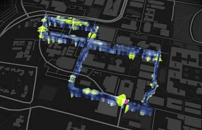 The map shows a 3-mile, figure-8 loop of optical fibers installed beneath the Stanford campus as part of the fiber-optic seismic observatory. (Image courtesy Stamen Design and the Victoria and Albert Museum)
