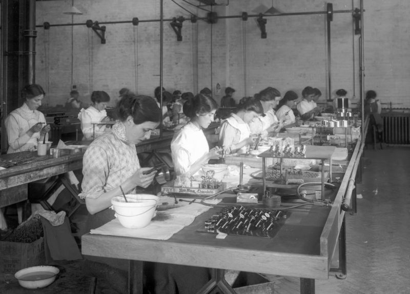 Electricity meant you could organize factories - and workers - along the logic of a production line.